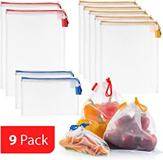 VANDOONA Reusable Mesh Produce Bags 9 Pack I Eco friendly Extra Strong See Through Washable Premium Mesh for Fruits Veggies Grocery Shopping & Toys, Color Coded Drawstrings by Size & Tare Weight Tags.