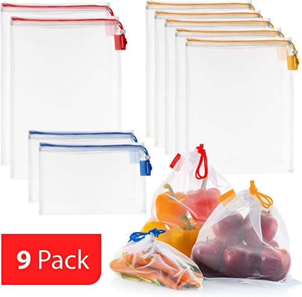 VANDOONA 9 Pack Reusable Produce Bags Eco Friendly Extra Strong See Through Washable Premium Mesh For Fruits Veggies Grocery Shopping Toys Color Coded Drawstrings By Size Tare Weight Tags