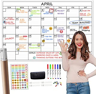 """$25 » Large Reusable Dry Erase Wall Calendar - 24""""x36"""" Undated Monthly Planner for Home, Office, Classroom - Laminated Task Orga..."""