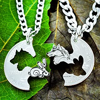 Wolf and Rabbit Couples Necklaces, Relationship Jewelry set, hand cut coin, By NameCoins
