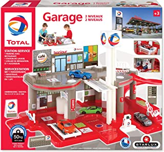 STARLUX – Garage Total avec Station-Service Complète 2 Niveaux– Dès 3 Ans – Fabriqué en Europe (Garage 2 Niveaux)