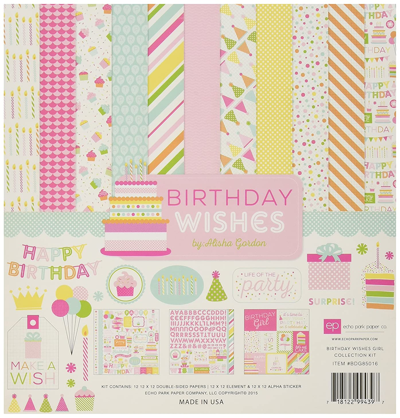 Echo Park Paper Company BDG85016 Birthday Wishes Girl Collection Kit