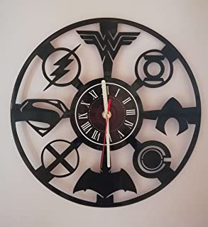 "JUSTICE LEAGUE 12"" Handmade Vinyl Record Wall Clock - Dark Knight Hero Arkham City DC Comics Movie Characters - Get unique home room wall decor - FLASH - Gift ideas for teens – WONDER WOMAN AQUAMAN"