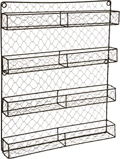 DII Farmhouse Vintage Decorative Metal Pantry Organizer, 17Lx2.3Wx20H, 4 Tier Spice Rack-Rustic
