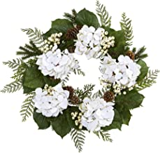 """Nearly Natural 24"""" Gold Trimmed Hydrangea and Berry Wreath, White"""