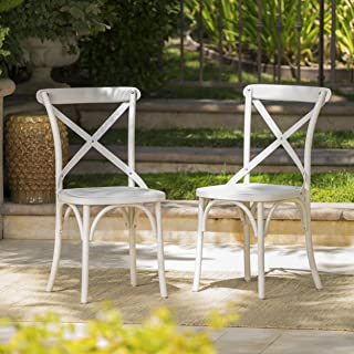 Christopher Knight Home Danish Outdoor Plastic Nylon Dining Chairs, 2-Pcs Set, French White