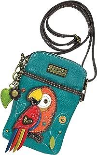 Chala Red Parrot Cellphone Crossbody Handbag - Convertible Strap