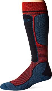 Icebreaker Merino Men's Ski Light Over The Calf Skiing Socks, Large, Chili Red/Prussian Blue/Midnight Navy