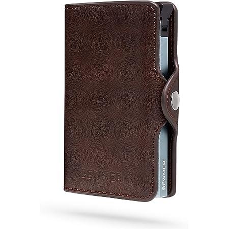BEWMER Billetera para Tarjetas de crédito Delgada con protección de Cerradura RFID Porta Tarjetas rígido anticontracción y Monedero con Sistema de Bloqueo de Tarjetas anticaída (Marrón)