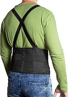 JeVx Faja Lumbar para la Espalda REFORZADA DOBLE CIERRE Y TIRANTES - Talla M para Hombre Cinturon Elastico Reforzado para Trabajo y Deporte Corrector de Postura Ajustable Abdominal Dolor Compresora