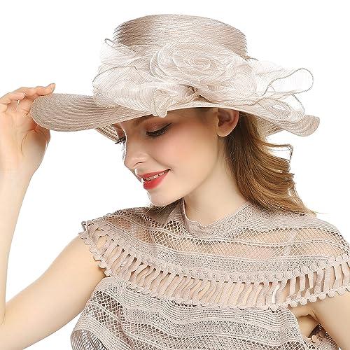 ddc8ee461fc WELROG Women s Kentucky Derby Church Hat - Foldable Floppy Dress Hats  Fascinators Fancy Wide Brim Tea