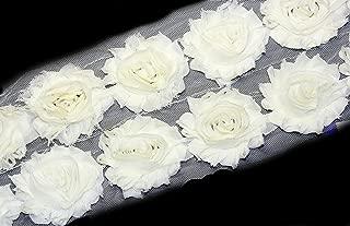 3 Yards/42 Flowers 2.5 Inch Shabby Rose Trim Flowers Chiffon Rosettes (Ivory)