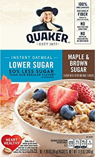 Quaker Oats Lower Sugar Instant Oatmeal, Maple and Brown Sugar, 11.9 Ounce