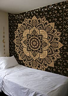 Madhu International Exclusive Black Gold Mandala Tapestry, Bohemian Gold Mandala Tapestries, Queen Size Mandala Wall Hanging Throw Home Decor