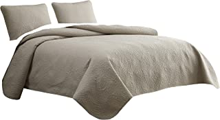 Cozy Beddings Aidee 3pc Coverlet Set Full/Queen Size Bed Lightweight Thermal Pressing Leafage | Tan