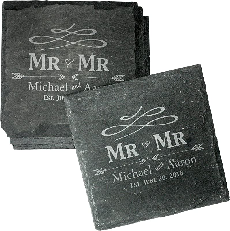 Engraved Personalized Gay Wedding Coasters Set Of 4 Drink Coasters For Wedding Favors Engagement Gift Mr And Mr Gifts CSL31