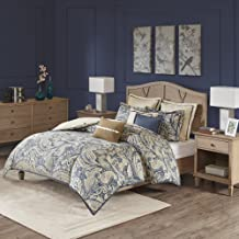 Hampton Hill Urban Chic King Size Bed Comforter Duvet 2-In-1 Set Bed In A Bag - Navy Gold , Paisley – 9 Piece Bedding Sets – Cotton Bedroom Comforters