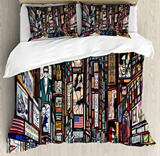 Lunarable New York Duvet Cover Set, Sketched Pop Art Style The Fifth Avenue Vibrant Lifestyle and Colorful Billboards, Decorative 3 Piece Bedding Set with 2 Pillow Shams, King Size, Multicolor