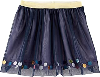 Carter's Girls Dimensional Sequins On Trim of Tulle Tutu Navy Skirt with Gold Glitter Waistband Size 12