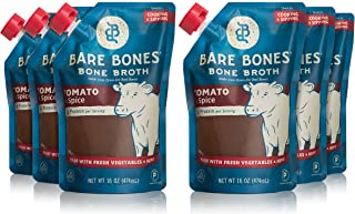 Bare Bones Tomato & Spice Beef Bone Broth for Cooking and Sipping, 100% Grass-Fed, Organic, Protein and Collagen Rich, Keto Friendly, 16 oz, Pack of 6