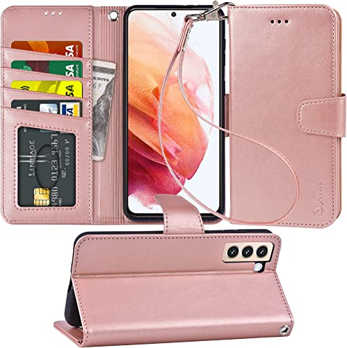 2021 Arae Case for Samsung Galaxy S21 FE PU Leather Wallet Case Cover [Stand Feature] with Wrist Strap and [4-Slots] ID&Credit Cards Pocket for Samsung 2021 Galaxy S21 FE(Rose outlet online sale Gold) online