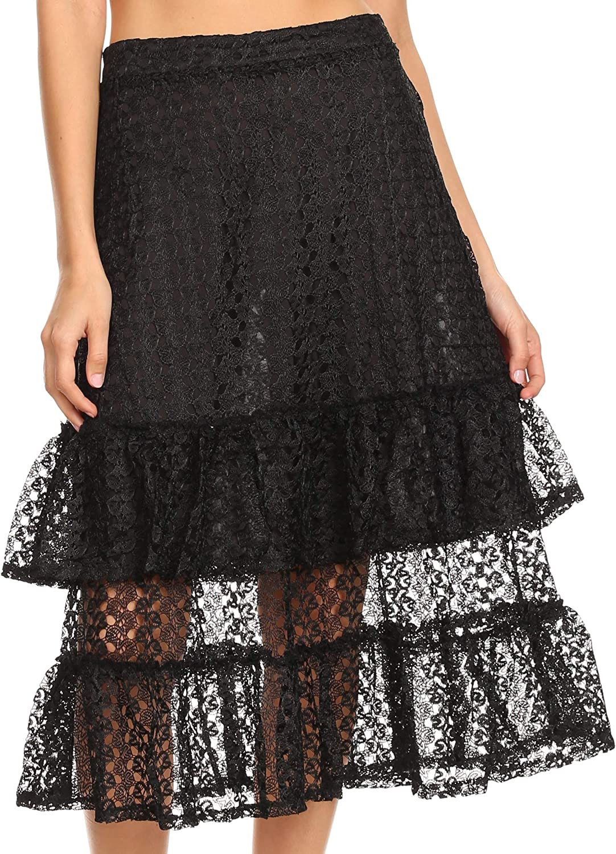 Sakkas Lavinia Women's Basic Versatile Lace Ruffle Midi Skirt Vintage A line