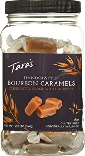 Tara's All Natural Handcrafted Gourmet Bourbon Flavored Caramel: Small Batch, Kettle Cooked, Creamy & Individually Wrapped - 20 Ounce