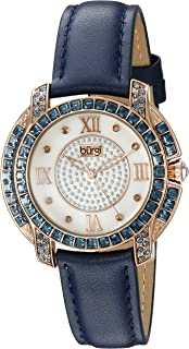 Burgi Women's Diamond Mother of Pearl Dial Colored Swarovski Crystal Genuine Leather Strap Watch - BUR156