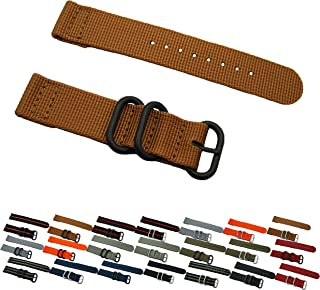 HNS ZULUPATH 2 Pieces 24mm Khaki Ballistic Nylon Watch Strap 3 PVD Ring ZU065