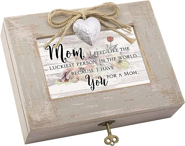 小屋花园妈妈最幸运的人我有你天然灰褐色的木头盒子音乐盒播放美妙的世界