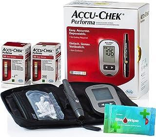 Accu Chek Performa 110 Test Strips + Glucometer Monitor + Diabetes Wipes پاک کننده های صاف کننده انگشت برای نتایج دقیق سطح خون - تاریخ انقضا بسیار طولانی