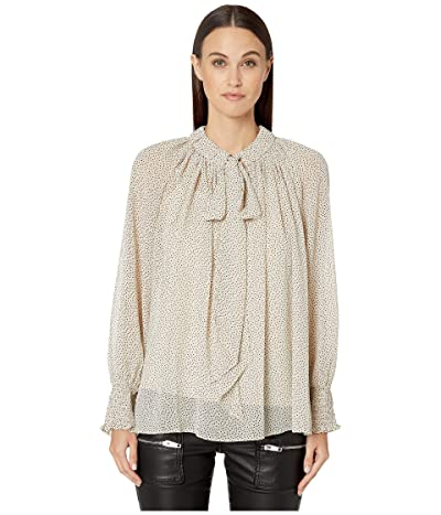 ML Monique Lhuillier Tie Front Micro Polka Dotted Flowy Top (Bone Black) Women