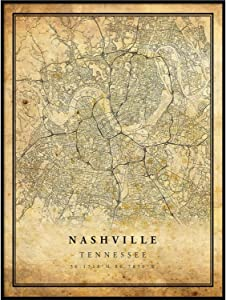 Nashville map Vintage Style Poster Print | Old City Artwork Prints | Antique Style Home Decor | Tennessee Wall Art Gift | Old map Art 24x36