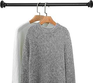 MyGift Matte Black Wall Mounted Metal Corner Clothing Hanging Bar, Garment Rack