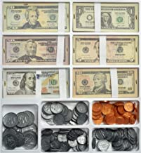 Teacher's Choice Pretend Play Money Set for Kids - 150 School Money Bills and 140 Plastic U.S. School Money Coins in Large Tray with Clear Cover