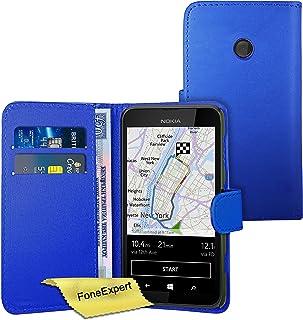 Nokia Lumia 530 fodral, FoneExpert® premium läder bok plånboksfodral för Nokia Lumia 530 + skärmskydd och tyg, Plånbokfodr...