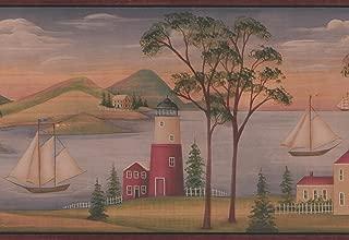 Village on the River Sailboats Lighthouse Rolling Hills Vintage Wallpaper Border Retro Design, Roll 15' x 8.25''