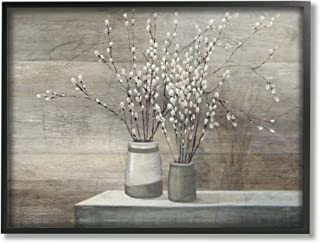Stupell Industries Pussy Willow Still Life Framed Giclee Texturized Art, Proudly Made in USA