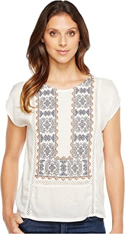 Lucky Brand Embroidered Mix Top