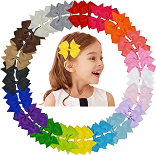 Baby Girls Hair Bows Clips Boutique Grosgrain Ribbon Bow Pinwheel Barrettes For Babies Kids Toddlers Teens Gifts (Multi ColorE-40PCS)