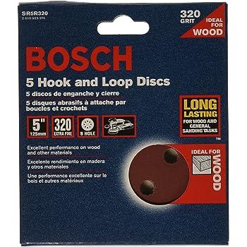 8 Hole Hook-And-Loop Sanding Discs Bosch SR5R060 5-Piece 60 Grit 5 In