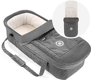Hoco Baby Tragetasche 3in1 für Buggy z.B. passend für Geschwisterwagen Tandem - faltbare Universal Kinderwagen Soft Babywanne 75x30 cm mit Matratze, Schutzdecke und Einlage - Grau