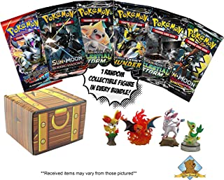 Golden Groundhog Bundle Featuring - 6 Booster Pack Lot - Featuring 1 Collectible Pokemon Toy Figure - Comes in Golden Groundhog Treasure Chest Storage Box!