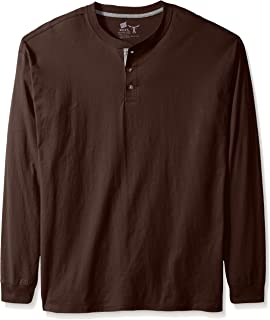 Men's Long-Sleeve Beefy Henley Shirt, Dark Truffle, 2X Large
