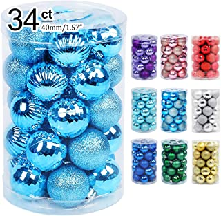 """Best Lulu Home Christmas Ball Ornaments, 34 Ct Pre-Strung Xmas Tree Decorations, Holiday Hanging Balls Sky Blue 1.57"""" Review"""