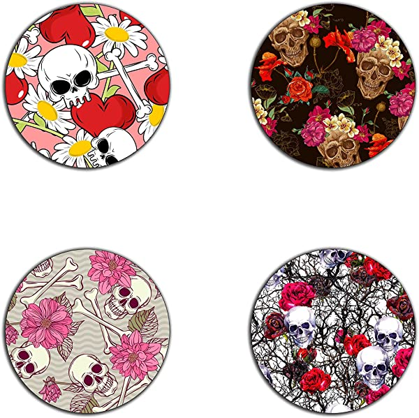 Skull And Flowers Pattern Round Coaster Set Made Of Recycled Rubber Set Of 4