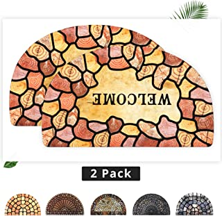 EZHOMEE Outdoor Rubber Welcome Door Mat, 29x17, Durable, Non-Slip, Heavy Duty, Entry Floor Mats for Front Door, Entrance, Patio, Porch, High Traffic Areas for Dog, Half Circle, Annual Ring, 2 Pack