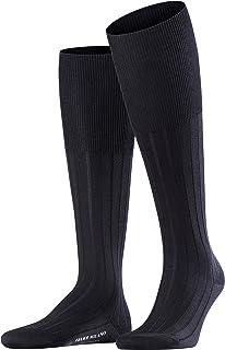 FALKE Kniestrümpfe Milano Baumwolle Herren schwarz blau viele weitere Farben verstärkte Kniesocken mit Muster atmungsaktiv lang einfarbig hoch und warm gerippt 1 Paar