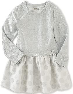 Calvin Klein 婴儿女童褶皱针织身体与提花裙