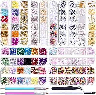 Duufin 12890 Piezas Diamantes de Imitacion Pedrería para Uñas con 2 Piezas Plumas de Uñas 1 Pieza Pinza para Decoración de...